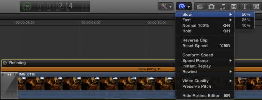 retiming editor in final cut pro