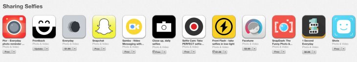 Apple's iOS App Store spotlights the selfie