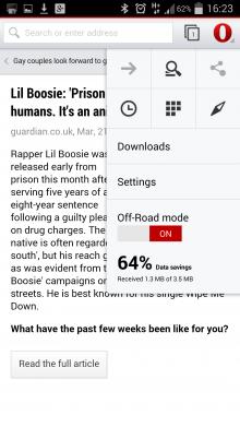 Opera App off-road mode