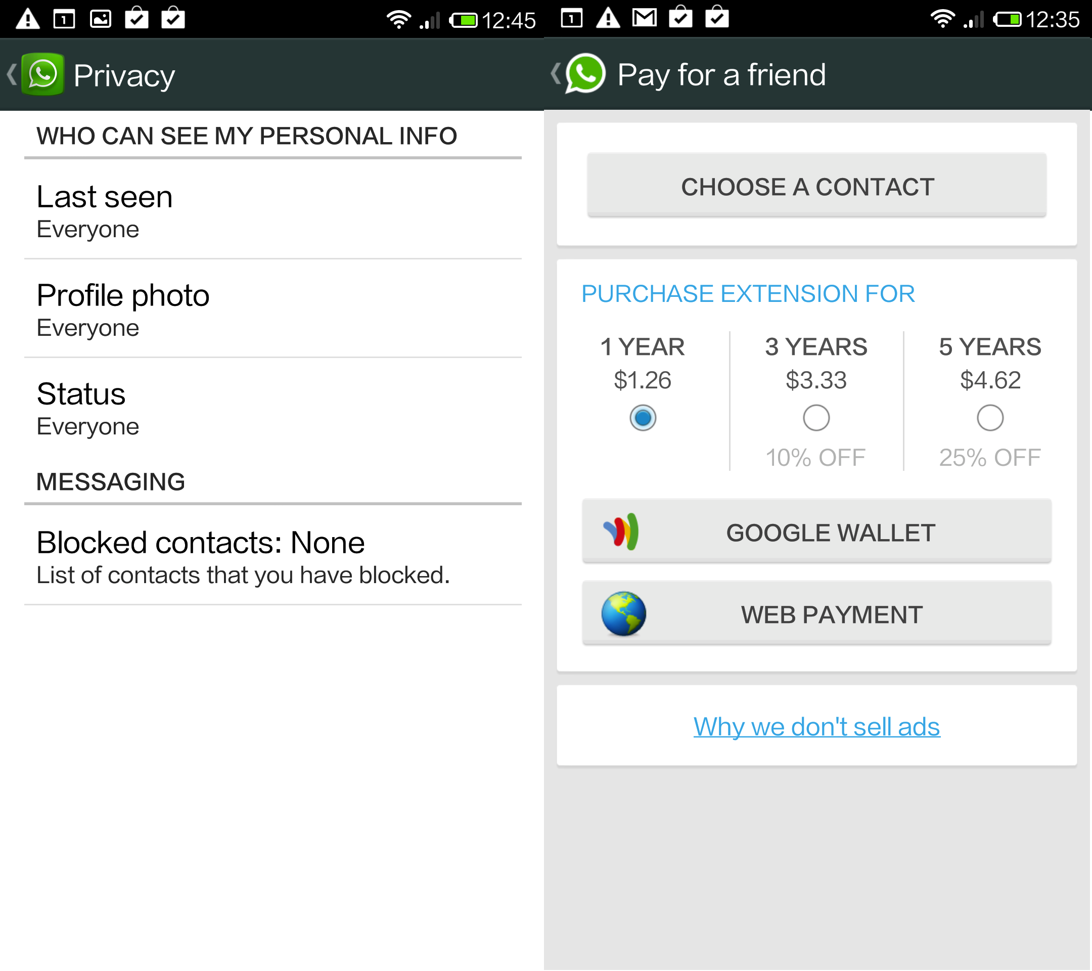 WhatsApp For Android Gets Privacy Updates, 'Pay For A Friend