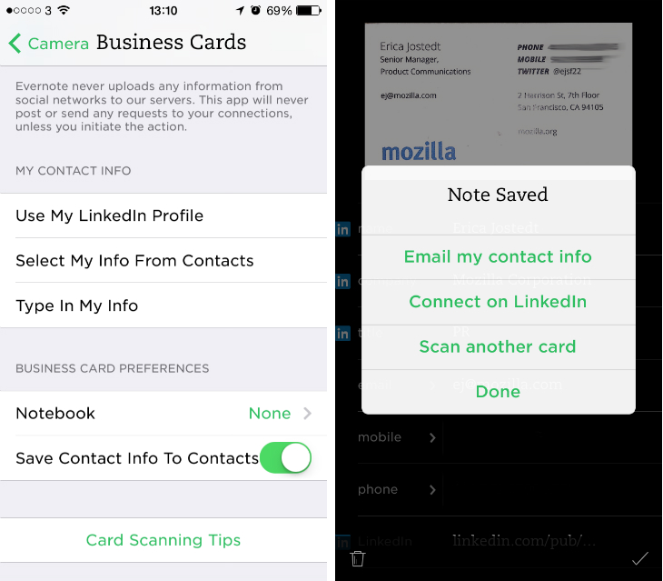 Evernote for ios gets deeper linkedin support for business cards evernote says its also improved the way in which it handles names and phone numbers captured from business cards which is a welcome update reheart Choice Image
