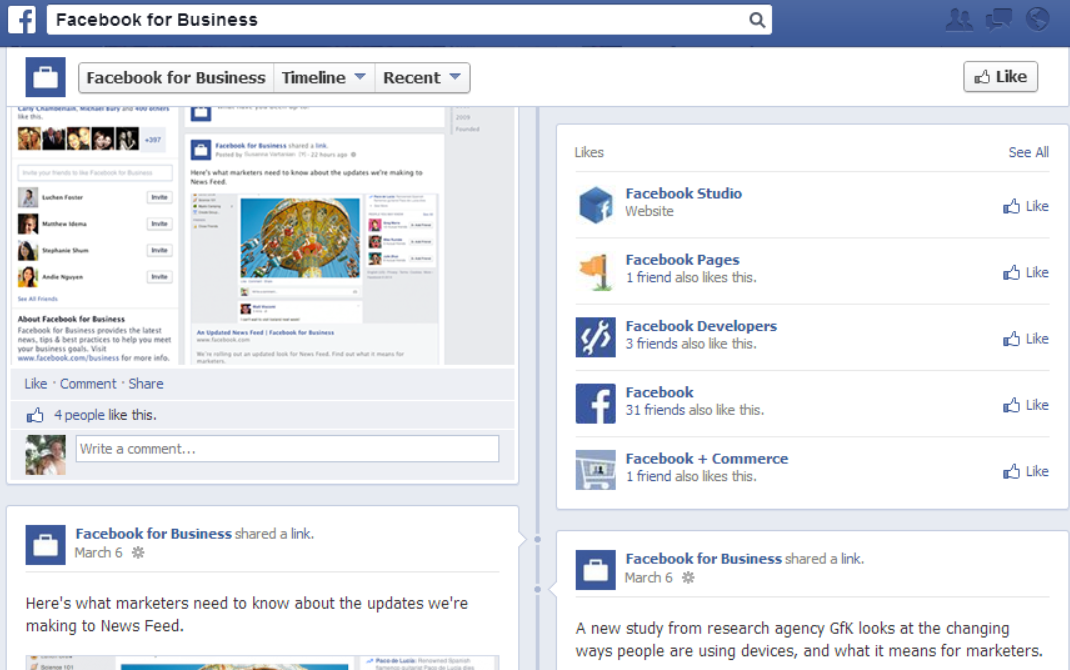 Facebook revamps pages with new one column timeline design for Interior design facebook pages