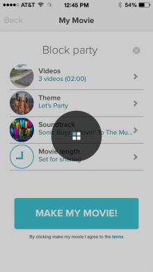Magisto video app for iPhone
