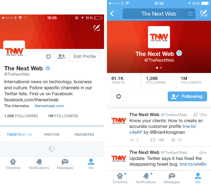 Twitter Tests Profile Redesign for its iOS App