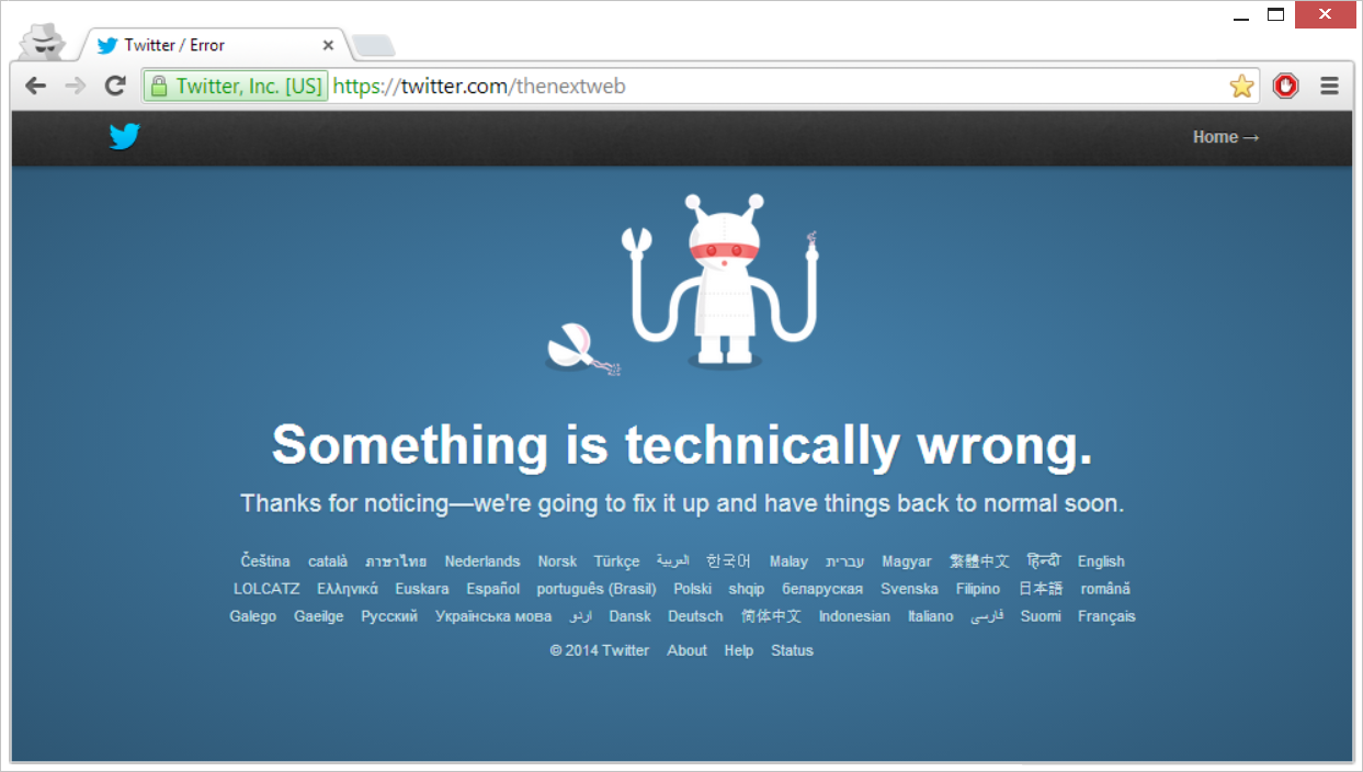 Twitter Goes Down: Something is Technically Wrong