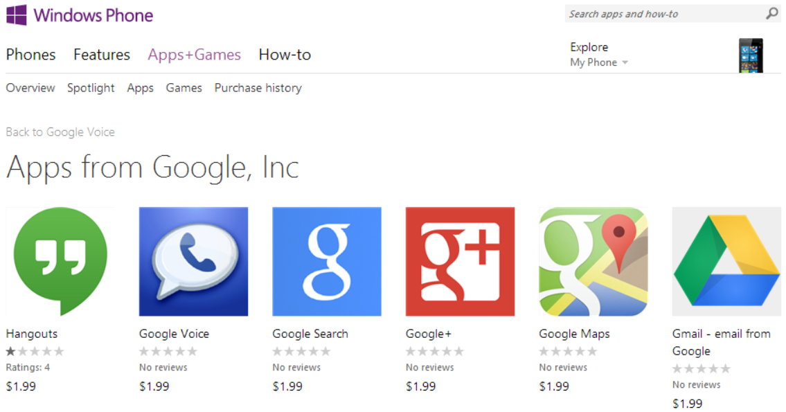 Microsoft Pulls Fake Google Apps from Windows Phone Store