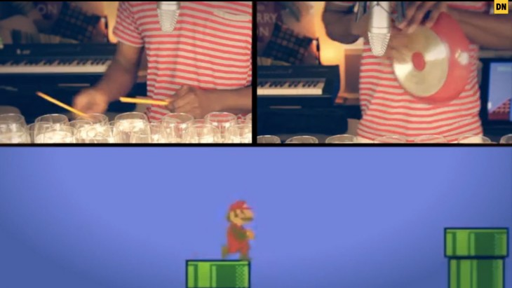 Super Mario Bros. theme played on 48 wine glasses makes you forget your princess is in another castle ...