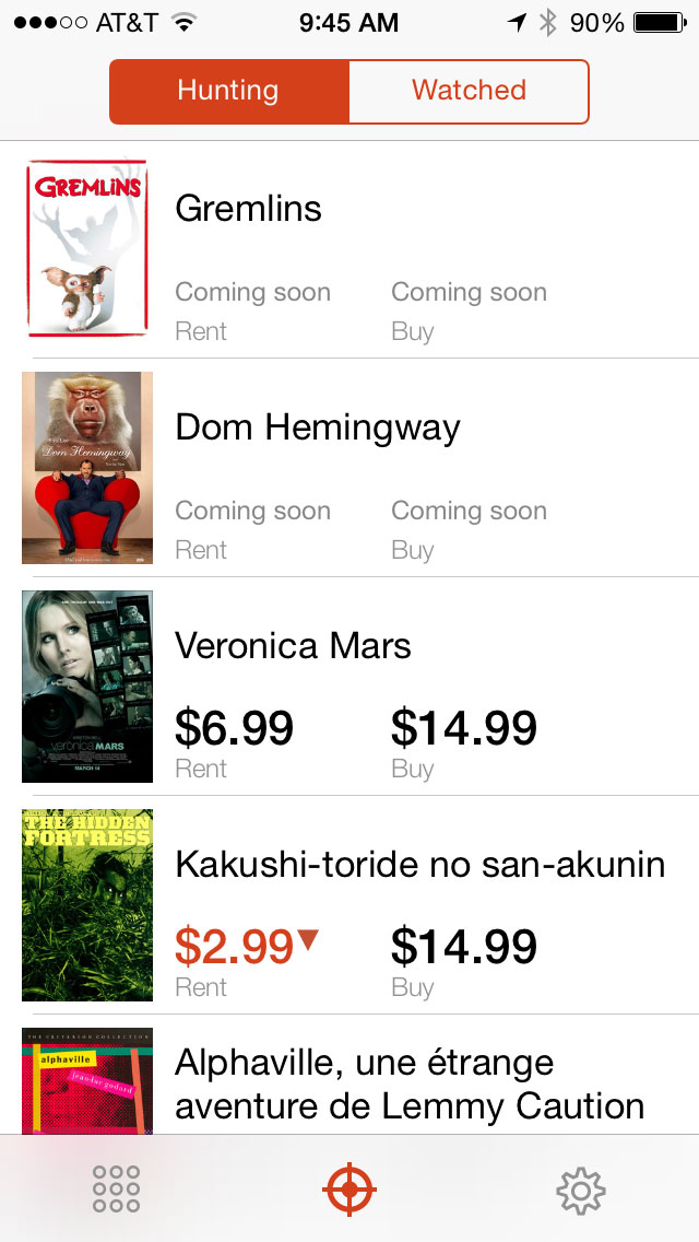 Know exactly when your favorite video goes on sale with the KinoHunt app