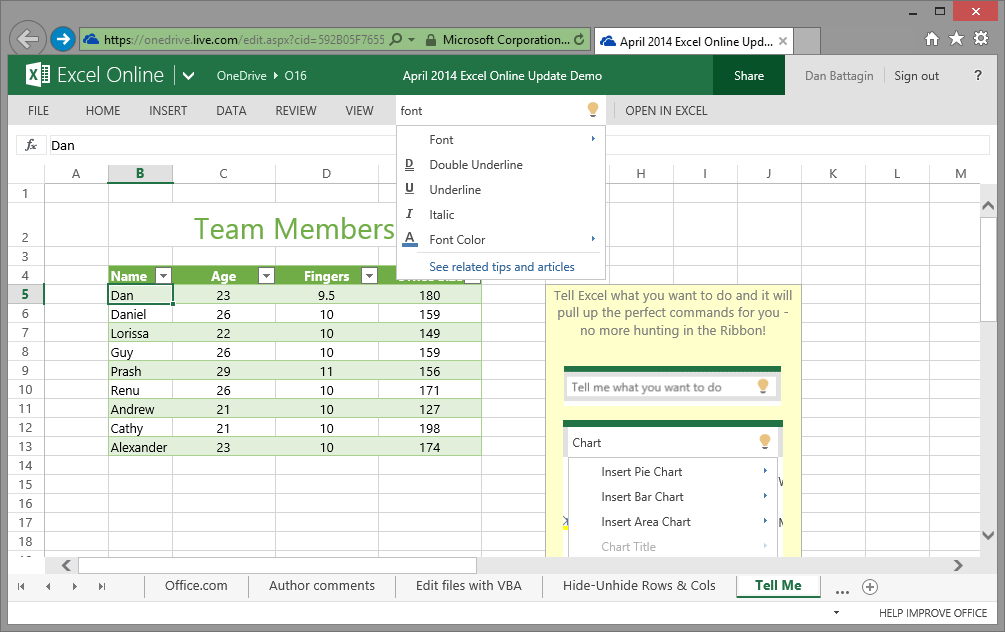 2014-04-08 Excel Blog - Excel Online Feature Update - Tell Me Integration