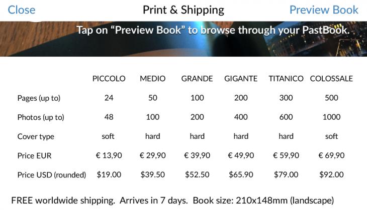 PastBook Pricing