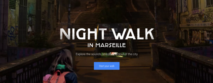 Google Night Walk is an immersive tour of Marseille with Street View photos and an audio guide
