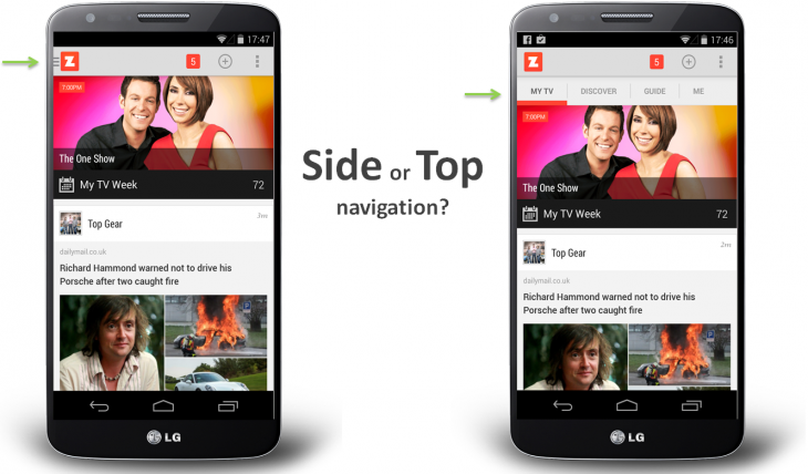 Side or top navigation drawer for mobile