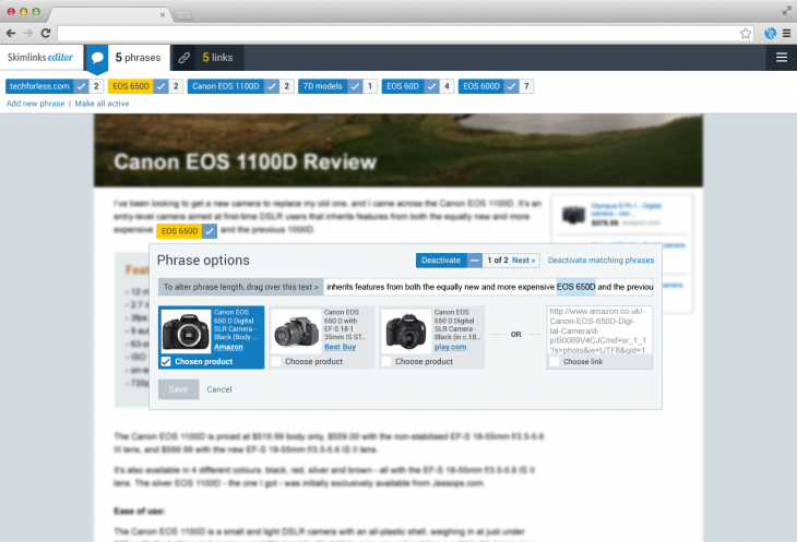Skimlinks Editor 730x497 Skimlinks content monetization platform adds intelligent links that auto update, check stock