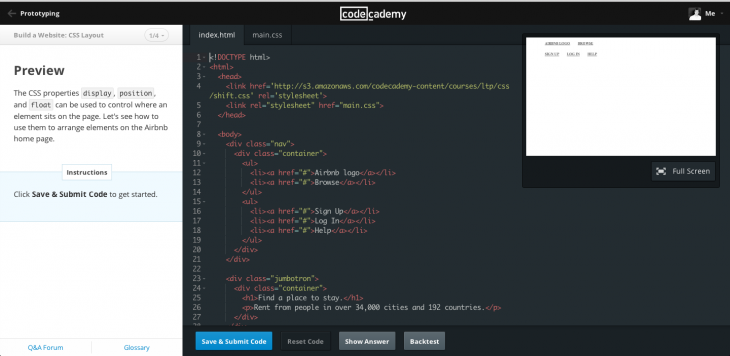 codecademy learning environment 3