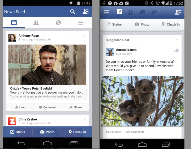 Facebook A/B test on top navigation and side navigation drawer
