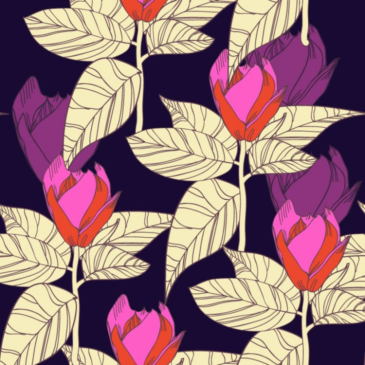 Lola Tsvetaeva | Seamless vector background with flowers and leaves