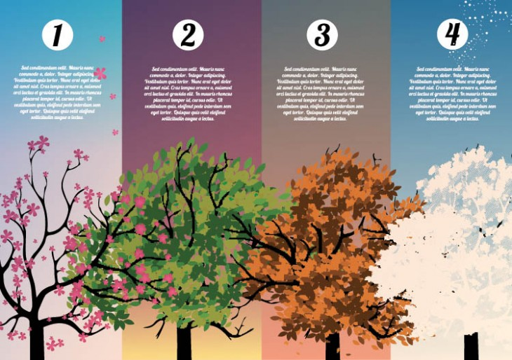 Four Seasons Banners with Abstract Trees Infographic by inbevel