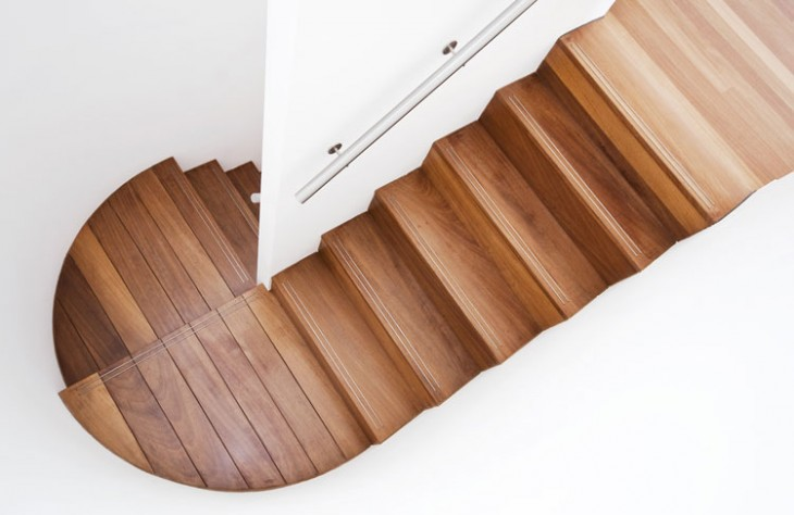 Luxurious modern wooden staircase