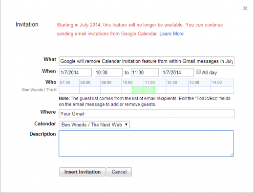 While the move is likely to irritate a few people – the feature allowed you to send invites without having to open up Google Calendar itself – it was likely ...
