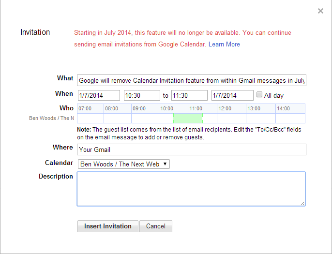 Google will remove the calendar invitation feature from gmail in july while the move is likely to irritate a few people the feature allowed you to send invites without having to open up google calendar itself it was likely stopboris Gallery