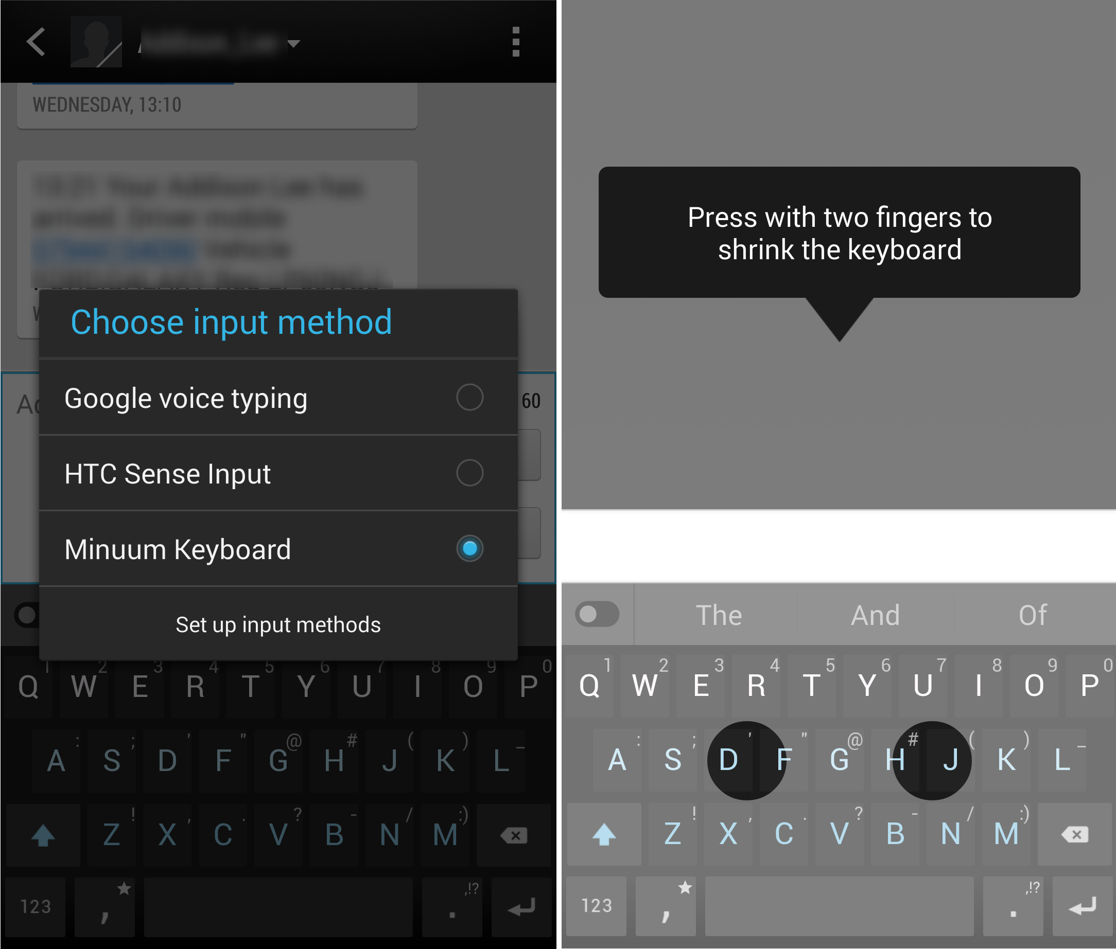 Minuum: a Nifty Collapsible Keyboard App for Android