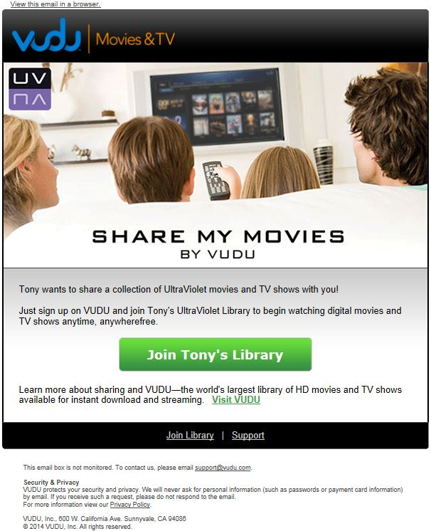 VUDU adds an UltraViolet sharing option so up to five friends can watch your movies and shows