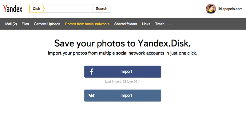 Backup your Facebook photos to the cloud with Yandex Disk