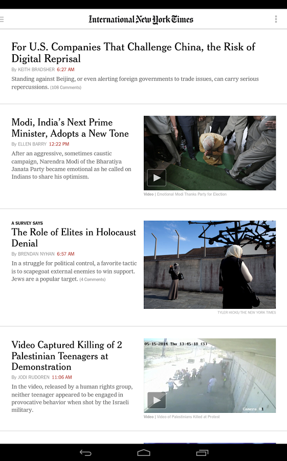 the nytimes android app now lets you select an international edition