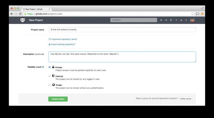 GitLab project creation