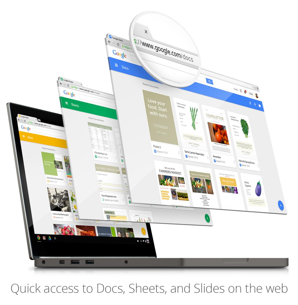 google creates docs sheets slides home screens on web