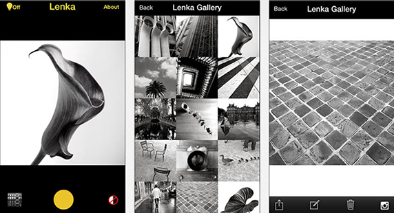 Lenka is a beautifully simple iPhone app that gives photos that moody monochrome magic