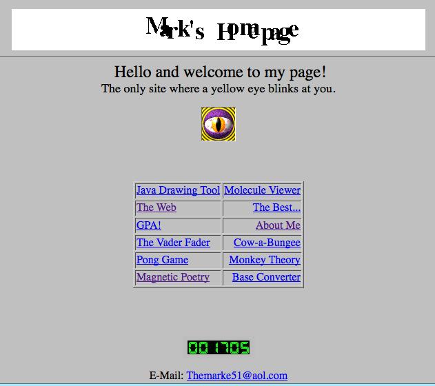 le premier site Web de Mark Zuckerberg