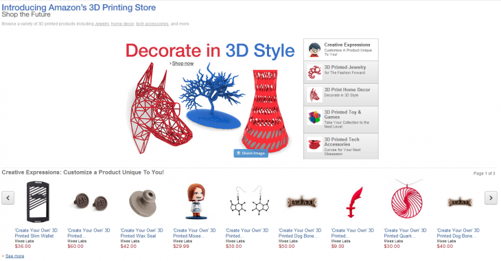 3DPrintingAmazon 730x380 Amazon launches a portal dedicated to customizing and selling 3D printed products