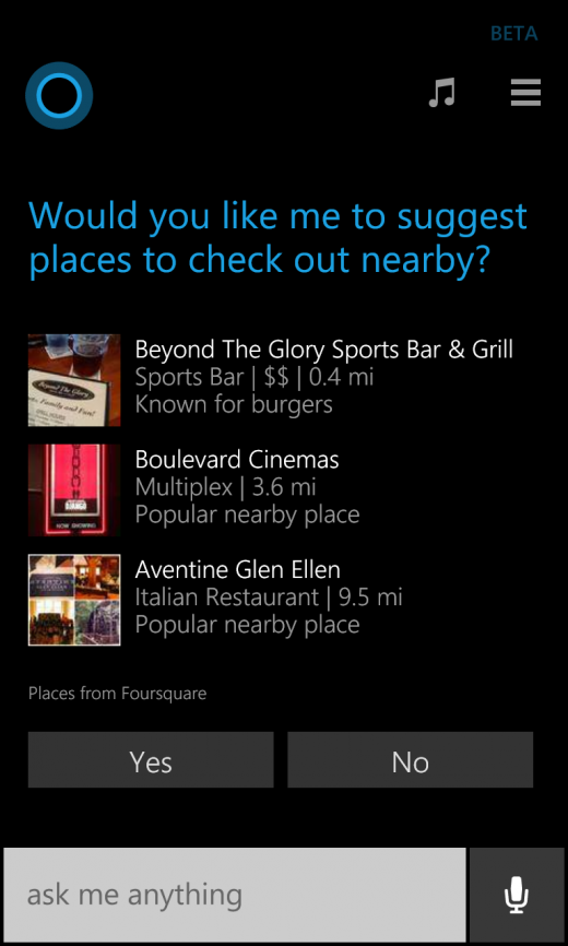 Cortana Foursquare 1 520x866 Windows Phones Cortana now pulls in Foursquare data to suggest nearby places for you