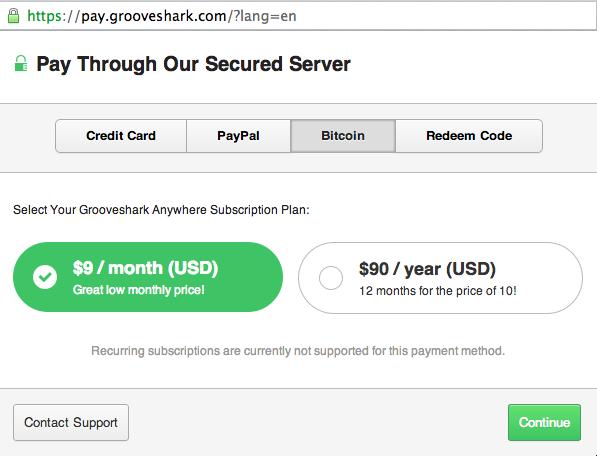 Grooveshark-Bitcoin