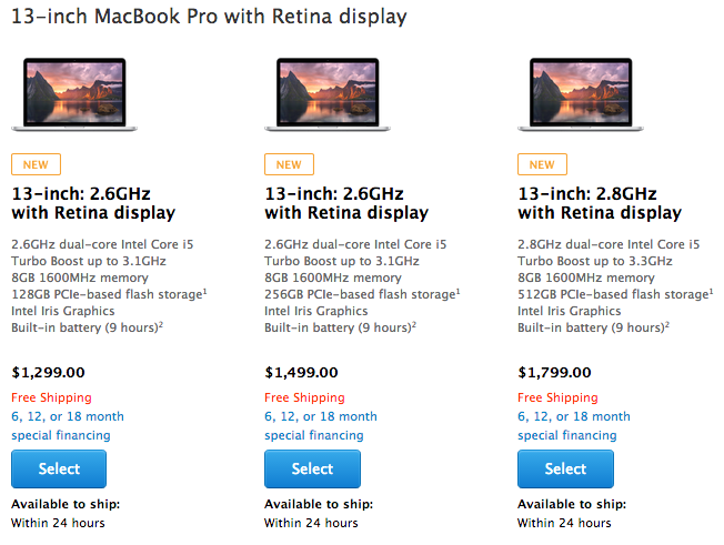 Screen Shot 2014 07 29 at 10.28.08 Apples MacBook Pro with Retina display laptops get faster processors, more memory as standard