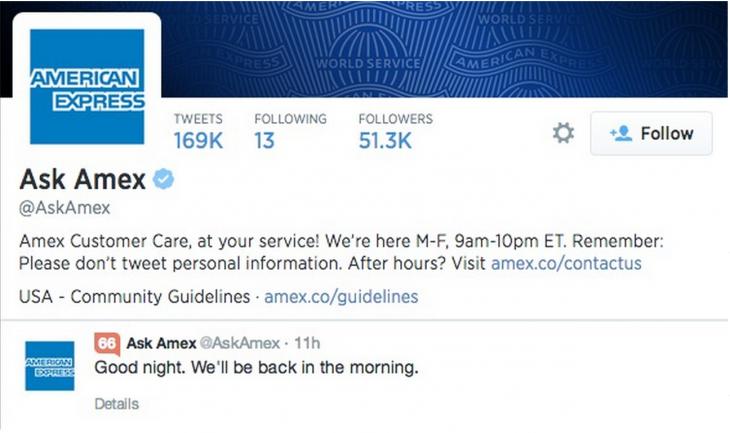 amex sign off tweet