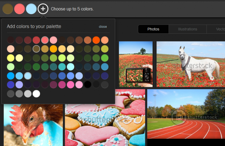 Shutterstock's 'Palette' tool helps you find stock photos based on color combinations ...