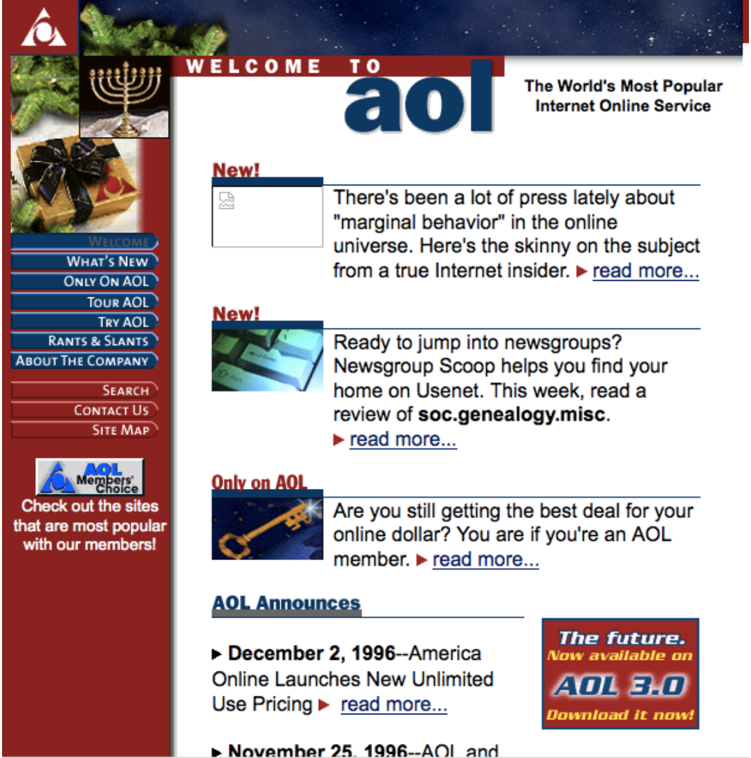 Websites Through the Ages: Tracking AOL, Yahoo and ESPN
