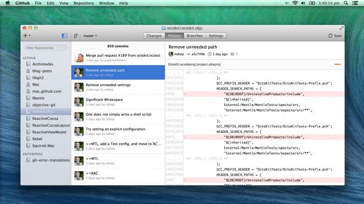GitHub for Mac simplified with a focus on faster navigation