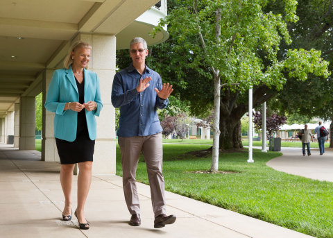 IBM CEO Ginni Rometty with Apple CEO Tim Cook