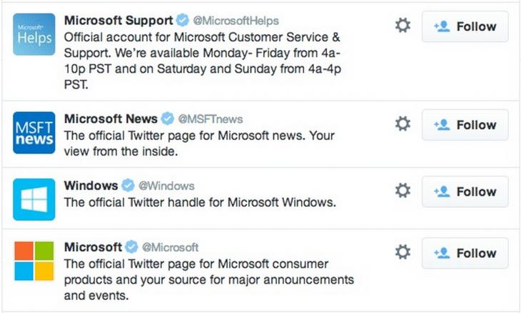microsoft twitter accounts