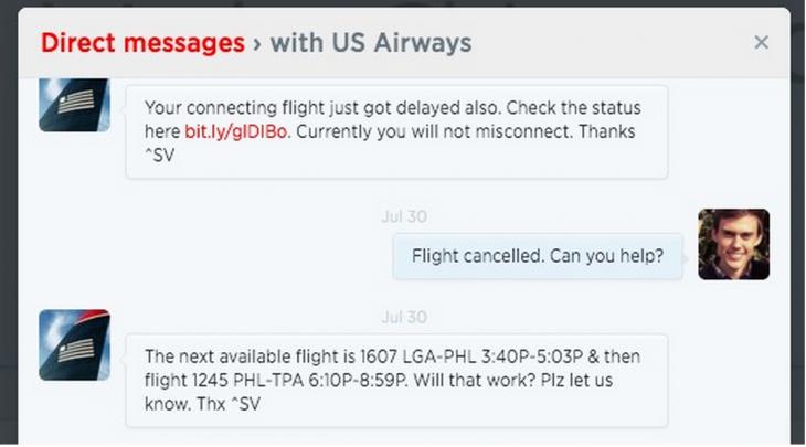 us airways twitter customer service