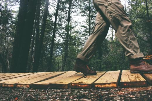 walking on wood board