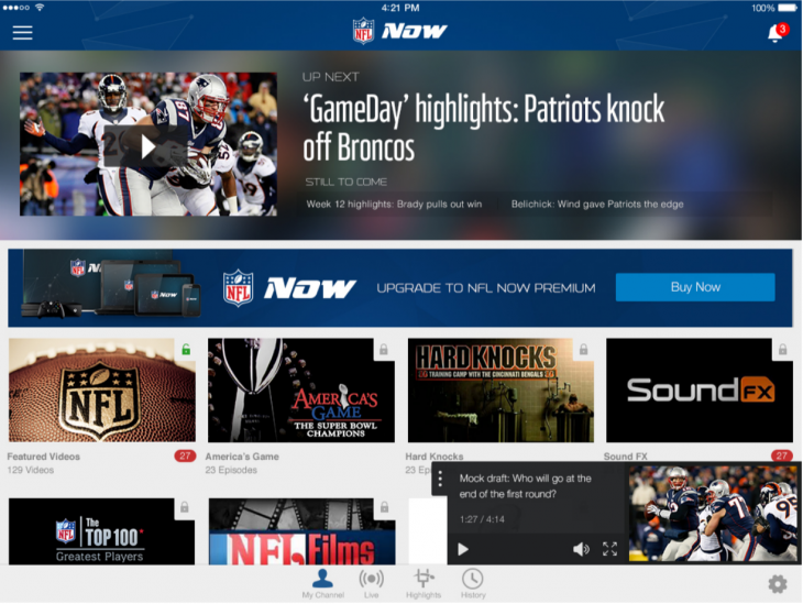 NFL Now app expands to set-top devices, with a premium option for instant in-game highlights