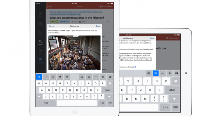 Quora releases an iPad app and a redesigned text editor
