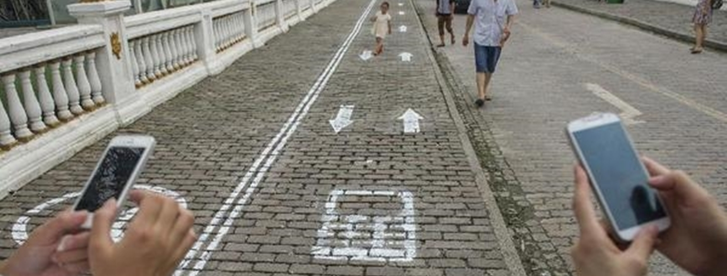 China Now Has Pedestrian Lanes for Phone Addicts