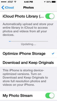 Setting up the iCloud Photo Library on the iPhone.