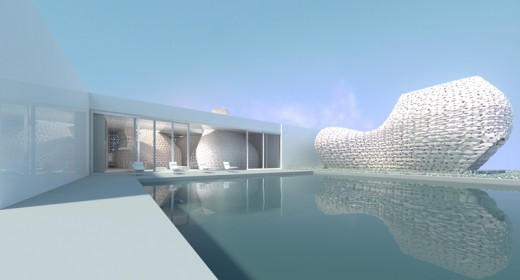 """""""View towards pool and 3D printed cabana"""" by Emerging Objects"""