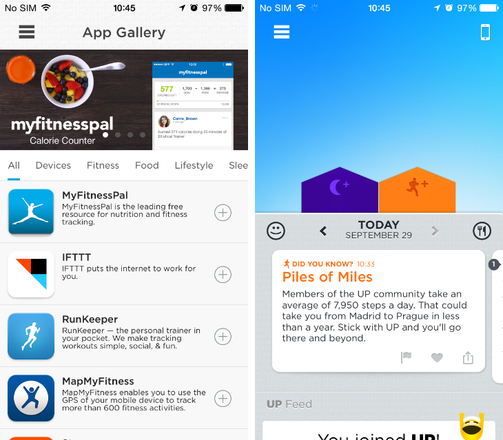 Jawbone Releases Up iOS App with Apple Health Support